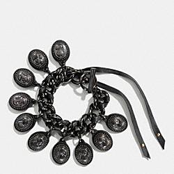 COACH CAMEO CHARM BRACELET - ANTIQUE NICKEL/BLACK - F90410