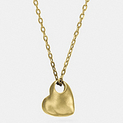 SCULPTED HEART PENDANT NECKLACE - f90446 - GOLD