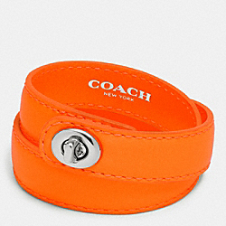 C.O.A.C.H. DOUBLE WRAP TURNLOCK BRACELET - SILVER/NEON ORANGE - COACH F90449