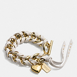 COACH LACED CURBCHAIN HEART TOGGLE BRACELET - GOLD/CHALK - F90458