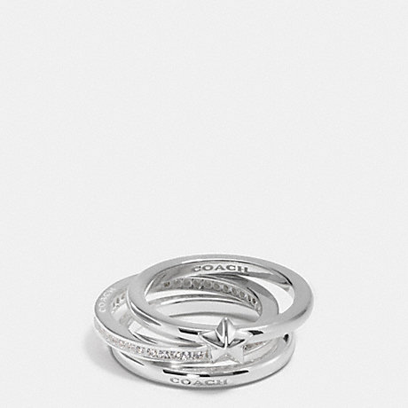 COACH PAVE STERLING STAR STACKABLE RING SET - SILVER/CLEAR - f90477