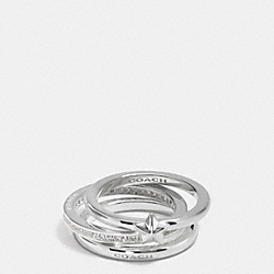 PAVE STERLING STAR STACKABLE RING SET - SILVER/CLEAR - COACH F90477