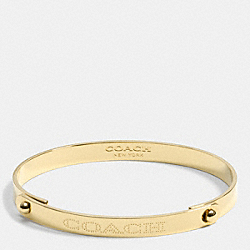 COACH METAL PLAQUE TENSION BANGLE - f90486 - GOLD