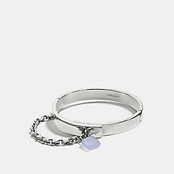 COACH PADLOCK CHAIN HINGED BANGLE - SILVER/PALE BLUE - F90502