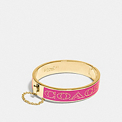 COACH HALF INCH HINGED ENAMEL BANGLE - GOLD/PINK RUBY - COACH F90509