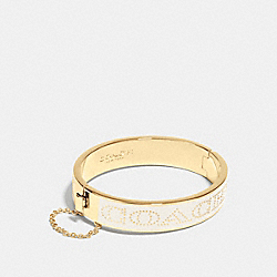 COACH HALF INCH HINGED ENAMEL BANGLE - f90509 - GOLD/CHALK