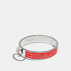 COACH HALF INCH HINGED ENAMEL BANGLE - SILVER/CARDINAL - COACH F90509
