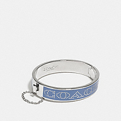 COACH HALF INCH HINGED ENAMEL BANGLE - SILVER/PALE BLUE - COACH F90509