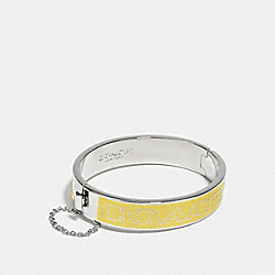 COACH COACH HALF INCH HINGED ENAMEL BANGLE - SILVER/YELLOW - F90509