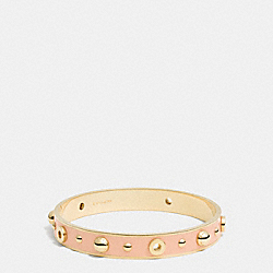ENAMEL GROMMETS AND RIVETS BANGLE - f90512 - GOLD/APRICOT