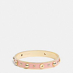 ENAMEL GROMMETS AND RIVETS BANGLE - f90512 - GOLD/BLUSH