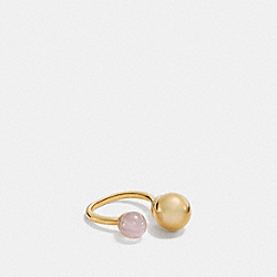 COACH DOUBLE SPHERES RING - GOLD/PETAL PINK - F90516
