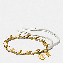 COACH SLIM LEATHER LACED CAMEO BRACELET - GOLD/CHALK - F90531