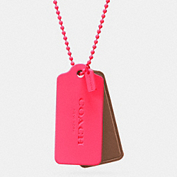 C.O.A.C.H. NOVELTY HANGTAG NECKLACE - NEON PINK/SADDLE NEON PINK - COACH F90550