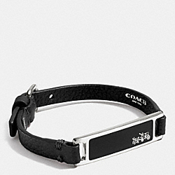 COACH LEATHER PLAQUE STRAP BRACELET - SILVER/BLACK - F90575