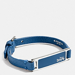 LEATHER PLAQUE STRAP BRACELET - SILVER/DENIM - COACH F90575