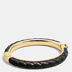 BRAIDED LEATHER HINGED BANGLE - GOLD/BLACK - COACH F90599