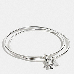 STERLING PAVE STAR BANGLE SET - f90609 - SILVER/CLEAR