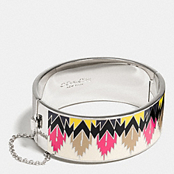WIDE HINGED HAWK FEATHER ENAMEL BANGLE - f90623 - SILVER/HAWK FEATHER