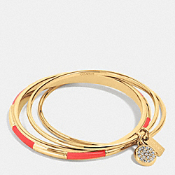 COACH PLAQUE BANGLE SET - GOLD/WATERMELON - COACH F90662