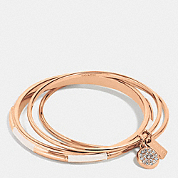 COACH PLAQUE BANGLE SET - f90662 - ROSEGOLD/CHALK