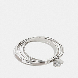 COACH PLAQUE BANGLE SET - f90662 - SILVER/GREY BIRCH