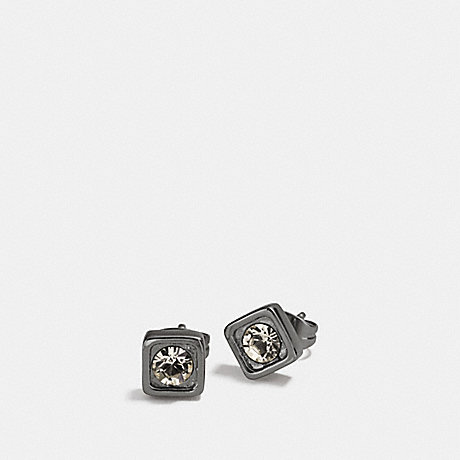 COACH f90665 COACH PAVE SQUARE STUD EARRINGS BLACK