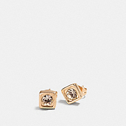 COACH PAVE SQUARE STUD EARRINGS - GOLD - COACH F90665