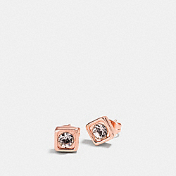 COACH PAVE SQUARE STUD EARRINGS - ROSEGOLD - COACH F90665