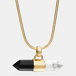 LONG TWO TONE AMULET NECKLACE - GOLD/BLACK/ CHALK - COACH F90678