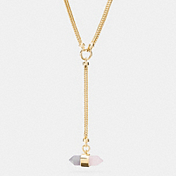 LONG TWO TONE AMULET LARIAT NECKLACE - GOLD/STONE/ BLUSH - COACH F90680