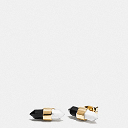 TWO TONE AMULET STUD EARRINGS - f90685 - GOLD/BLACK/ CHALK