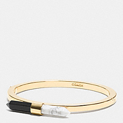 TWO TONE AMULET HINGED BANGLE - f90687 - GOLD/BLACK/ CHALK