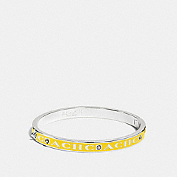 COACH PAVE HINGED ENAMEL BANGLE - SILVER/BANANA - COACH F90698