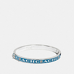 COACH PAVE HINGED ENAMEL BANGLE - SILVER/PEACOCK - COACH F90698