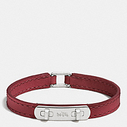 LEATHER SWAGGER BRACELET - SILVER/BLACK CHERRY - COACH F90702