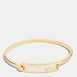 THIN ENAMEL PLAQUE TENSION BANGLE - f90705 - GOLD/CHALK