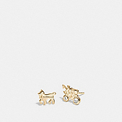 STERLING SILVER HORSE AND CARRIAGE STUD EARRINGS - GOLD - COACH F90715
