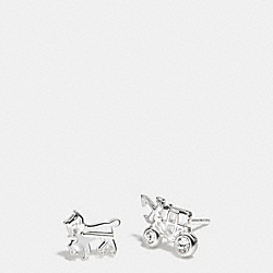 STERLING PAVE HORSE AND CARRIAGE STUD EARRINGS - SILVER/CLEAR - COACH F90715
