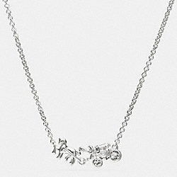 COACH STERLING PAVE HORSE AND CARRIAGE NECKLACE - SILVER/CLEAR - F90721