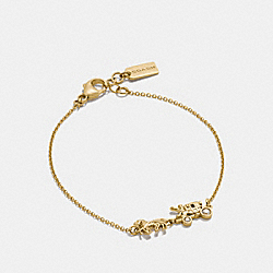 STERLING SILVER HORSE AND CARRIAGE CHAIN BRACELET - GOLD - COACH F90725