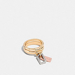 PAVE MIXED TAGS STACKED RING - f90732 - MULTICOLOR