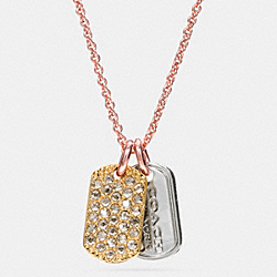 COACH PAVE MIXED TAGS NECKLACE - ROSEGOLD/SILVER - F90733
