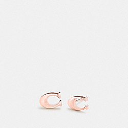 COACH BOXED SIGNATURE STUD EARRINGS - ROSEGOLD - F90772