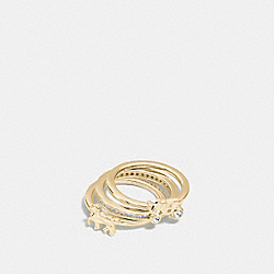 STERLING SILVER HORSE AND CARRIAGE RING SET - GOLD - COACH F90784