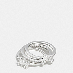 STERLING PAVE HORSE AND CARRIAGE RING SET - SILVER/CLEAR - COACH F90784