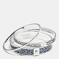 COACH OCELOT BANGLE SET - SILVER/SLATE - F90811