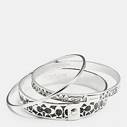 COACH SIGNATURE BANGLE SET - SILVER/GREY - F90812