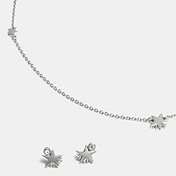SHOOTING STAR NECKLACE AND EARRINGS - f90813 - SILVER/SILVER