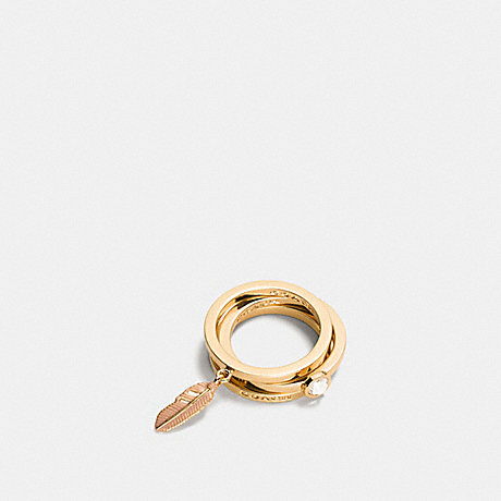 COACH PAVE METAL AND ENAMEL FEATHER RING SET - GOLD/BLUSH - f90815